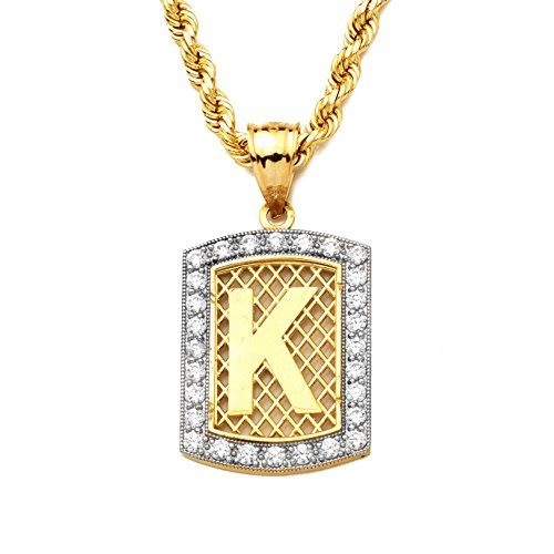 MR. BLING 10K Yellow Gold Dog Tag Initials Charm Pendant w/CZ Border (Available from A-Z) (K)
