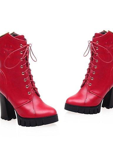 Cn38 Punta De us8 Y Eu38 Tacón Mujer Uk5 Redonda 5 Zapatos negro Sintético Uk6 Eu39 Cuero us7 Xzz Oficina Botas Red Cn39 Red Trabajo 5 Robusto Cerrada Casual Cn3 Vestido CXqAw