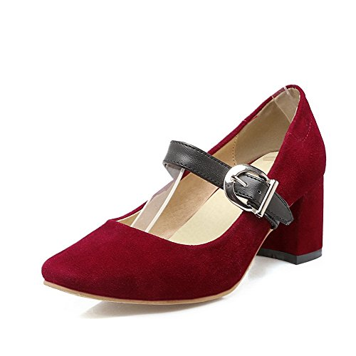 BalaMasa Ladies Chunky Heels Buckle Square-Toe Frosted Pumps-Shoes Red s0h0I8