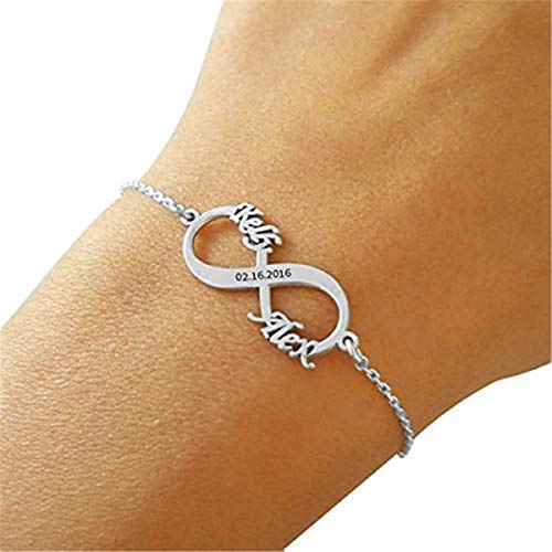 Ouslier Personalized 925 Sterling Silver Infinity Bracelet Custom Made with 2 Names & Dates (Golden) ()