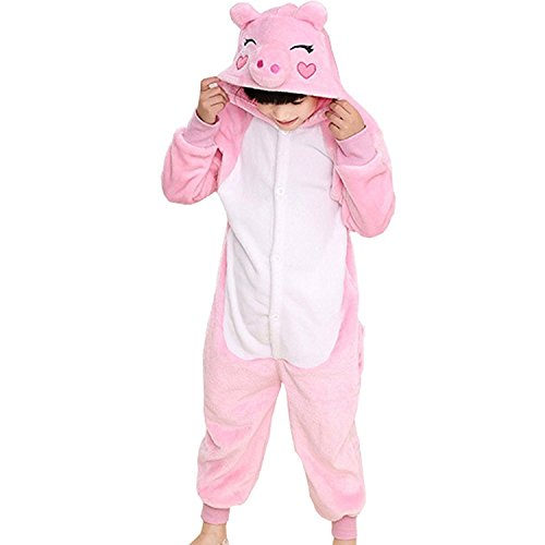 [ABING Halloween Pajamas Homewear OnePiece Onesie Cosplay Costumes Kigurumi Animal Outfit Loungewear,Pink Pig Chidren Size 105 -for] (Little Pig Costumes)