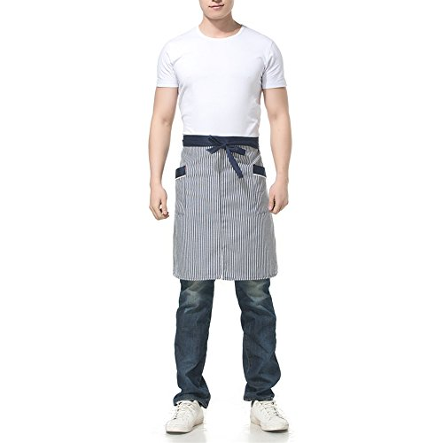 Aspire Bright Color Couple Waist Apron Women's Stripe Apron with 2 Pockets Men Chef Workiing (Blueman Costumes)