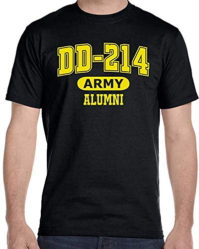 DD-214 Alumni Black and Gold US Army T Shirt for Proud, Brave Army Veterans Tshirt (XL)