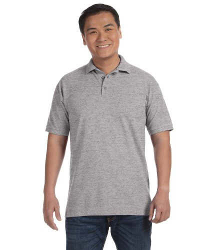Anvil 6002 Adult Ringspun Pique Polo - Heather Grey (90/10) - ()