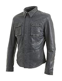 Slim Fit Mens Grey Retro Jeans Trucker Shirt Jacket Real Leather Vintage Biker