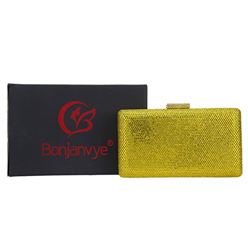 Party and Clutches for Clutch Bags Bonjanvye Crystal Purses Yellow Women Evening qRTBBP