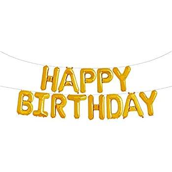 GOER Gold Happy Birthday Balloons16 Inch Foil Letter Balloons Banner For Party