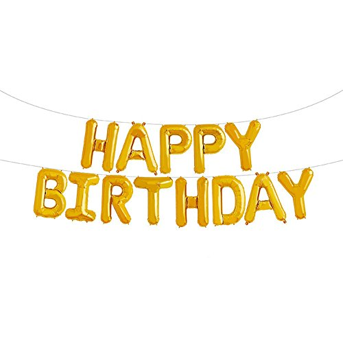 GOER Gold Happy Birthday Balloons,16 Inch Foil Letter Balloons Banner for Birthday Party