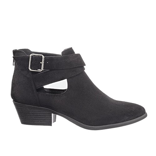Soda Cross Closed Criss Heel Cutout Boot Stack Buckle Women's Low Toe Black Ankle FqrwxnfFR