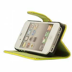 Mocca Design ER4S19 - Funda tipo libro para iPhone 4 y 4s (piel sintética, función atril), color amarillo flúor