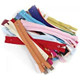 AKORD 50pcs 7 Inches Nylon Zippers for Sewing, Random Color