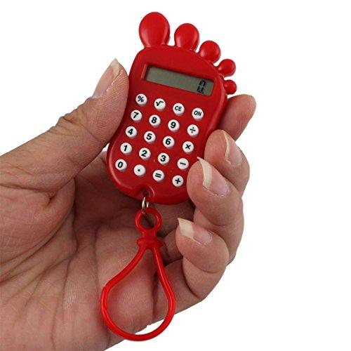 Amazon.com : eDealMax plástico Huella Escuela Forma portátil DE 8 dígitos LCD Visualización de la calculadora llavero Rojo : Office Products