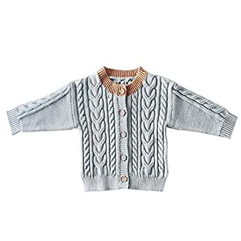 Xifamniy Infant Baby Spring&Autumn Knitted Sweater Twist Shape Coat Fashion Cardigan Gray-Blue