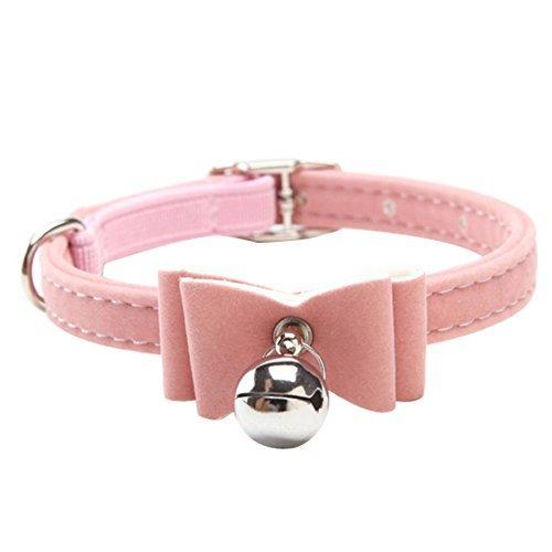 G Ganen Cat Collar Kitten Velvet Bow Tie Safety Elastic Bowtie Bell Color Pink