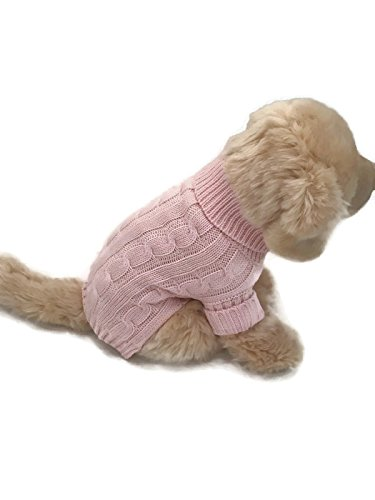 Le Petit Chien Small Dog Puppy Cable Knit Sweater (Medium, Valentine Pink)