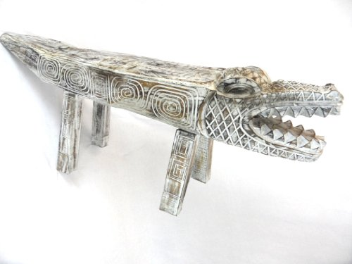 Hand-Carved-Florida-Gator-Alligator-Crocodile-Wood-Bench-Chair-White-Statue-HUGE
