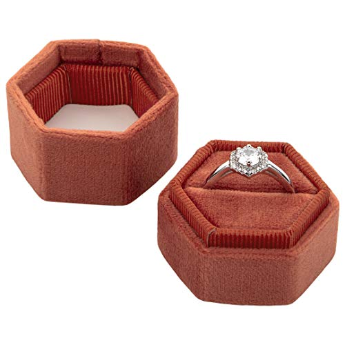Koyal Wholesale Velvet Ring Box, Hexagon Vintage Wedding Ceremony Ring Box with Detachable Lid, 2 Piece Engagement Ring Box Holder, Modern Proposal Idea - Vintage Ring Engagement