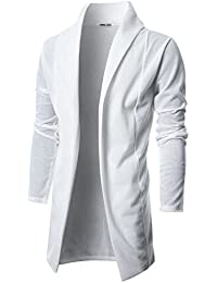 Mens Long Sleeve Draped Lightweight Open Front Shawl Collar Longline Cardigan
