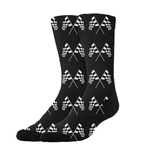 NEWINESS Racing Checkered Flag Socks Basketball High Ankle Socks Breathable Comfortable Best Gifts Athletic Crew Socks for Men & ()