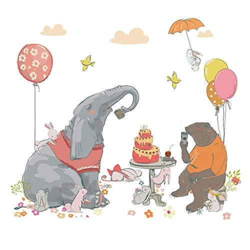 s Fashion Cartoon Elephant Animal Hand-Painted Personality Tv Background Decoration PVC Creative Affixed ()