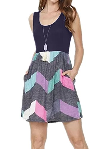 (Poulax Women Casual Sleeveless Striped Print Swing Mini T Shirt Tank Dress,Z-Purple,M)