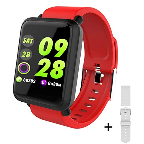 Fitness Tracker, Dosmix Activity Watch with Heart Rate, Blood Pressure Monitor, IP 68 Water-Resistant with Calorie Steps Sleep for Women Kids Men/Android iOS(Red)