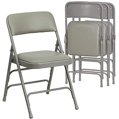 4 Pk. HERCULES Series Curved Triple Braced & Double Hinged Gray Vinyl Upholstered Metal Folding Chair