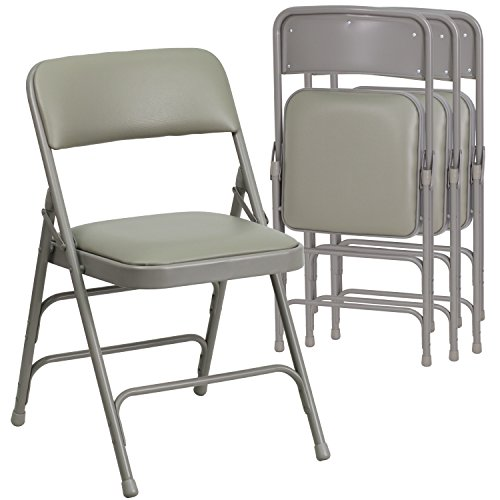 Flash Furniture 4 Pk. HERCULES Series Curved Triple Braced & Double Hinged Gray Vinyl Fabric Metal Folding Chair Triple Fabric