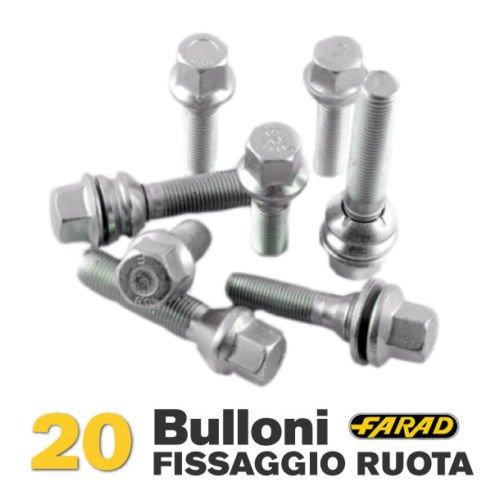 Kit 20 bulloni ruota Fiat Multipla Doblò Stilo Bravo Brava Punto Marea Palio Idea dal 2001 in poi ruote cerchi in acciaio e in lega Farad CAR PASSION