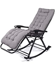 Relaxing Lounge Chair/Adjustable Rocking Chair/Folding Garden Recliner/, with Headrest and Cushion, Waterproof Fabric, Outdoor/Pool/Office. Support 200Kg,A