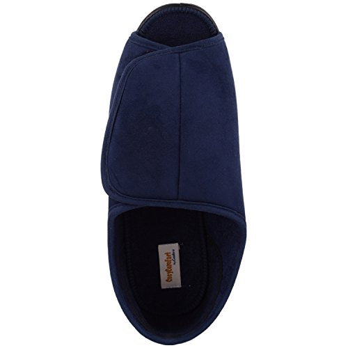 ABSOLUTE FOOTWEAR Mens Microsuede Wide EEE Fitting Slipper/Indoor Shoe With Open Toe Navy frXSVQywS