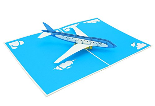 PopLife Jet Airplane Fathers Day Pop Up Card for All Occasions - Father's Day, Happy Birthday, Graduation, Retirement, Work Anniversary, Congrats - Pilots, Plane Travelers - Folds Flat for (Happy Day Invitation)