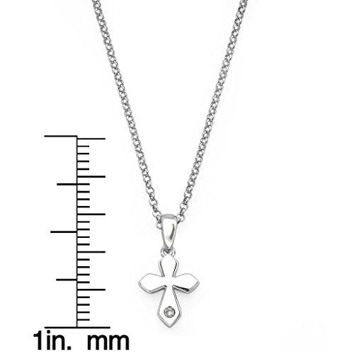 Little Diva Diamonds Cross Diamond Accent Pendant Necklace in 925 Sterling Silver, 16'' by Boston Bay Diamonds (Image #1)