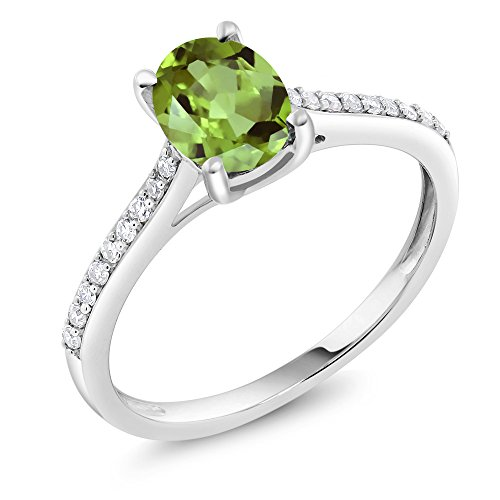 Gem Stone King 10K White Gold Pave Diamond Engagement Solitaire Ring set with 8x6mm Oval Green Peridot 1.43 ct (Size 5)