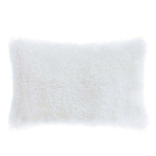 PiccoCasa Deluxe Home Decorative Fluffy Soft Plush Mongolian Faux Fur Throw Pillow Case Cushion Cover for Sofa/Couch/Bed/Car (12 x 20 Inch 30 x 50 cm,White)