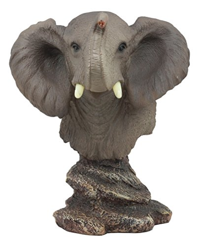 Safari Animal Charms - Ebros Safari African Bush Elephant Bust Statue 8.75
