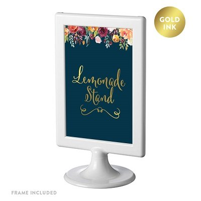Andaz Press Framed Wedding Party Signs, Navy Blue Burgundy Coral Florals Flowers with Metallic Gold Ink, 4x6-inch, Lemonade Stand Reception Dessert Table Sign, Double-Sided, 1-Pack]()