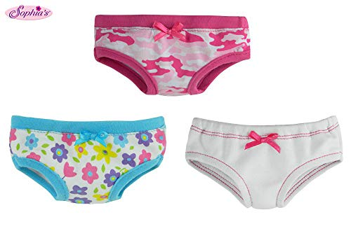 Sophia's 18 Inch Doll Underwear, Set of 3, Made Will Fit American Girl Dolls & More! Doll Clothes for 18 Inch Dolls