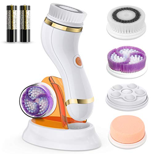 Facial Cleansing Brush,Waterproof Face Brush with 4