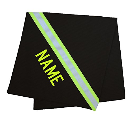 Personalized Firefighter Baby Blanket Looks Like Turnout Bunker Gear with Lime/Yellow Reflective (Black)