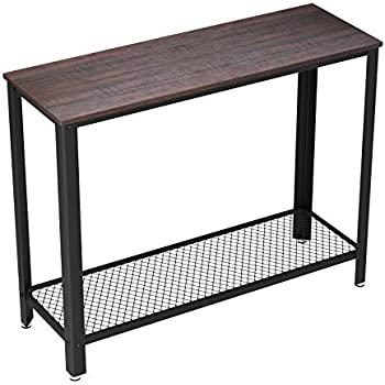 VASAGLE Industrial Console Sofa Table, for Entryway, Living Room, Bedroom,  Easy Assembly, Rustic Dark Brown ULNT80BF