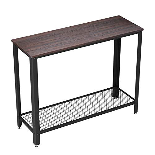 VASAGLE Industrial Console Sofa Table, for Entryway, Living Room, Bedroom, Easy Assembly, Rustic Dark Brown ULNT80BF ()