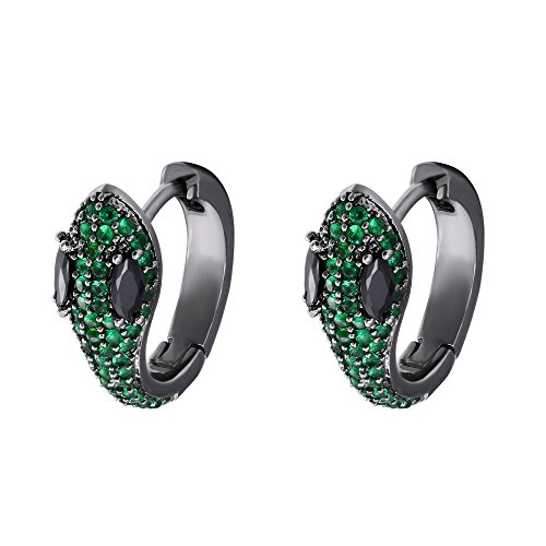 Victorian Snake - EVER FAITH Women's Cubic Zirconia Art Deco Party Snake Animal Stud Earrings Green Black-Tone
