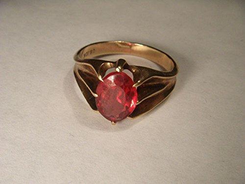 Fabulous Antique Estate 10K 14K Pink Rose Gold Garnet Solitaire Ring 10k Gold Antique