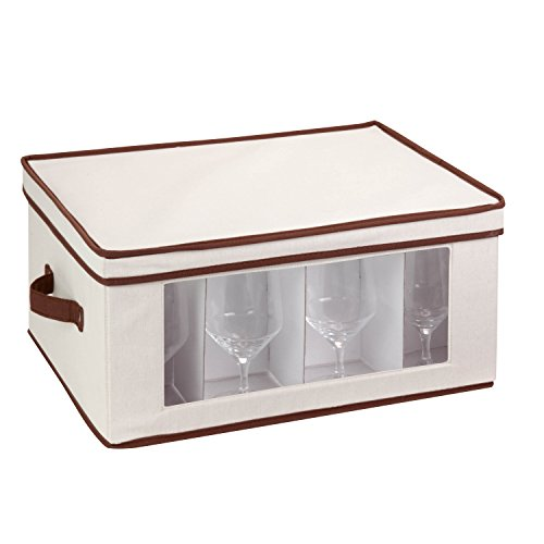 Honey-Can-Do SFT-02067 Natural Canvas Soft Storage Box, Large Window Box 18x14