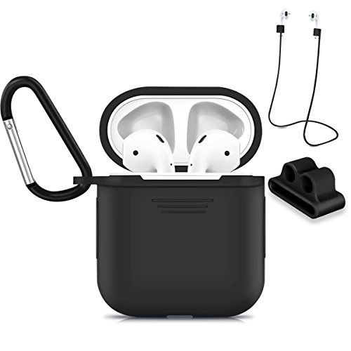 AirPods Case, Yloves Shockproof Protective Silicone Cover and Skin with Anti-lost Airpods Strap/Airpods Holder for Apple Airpods (Black)