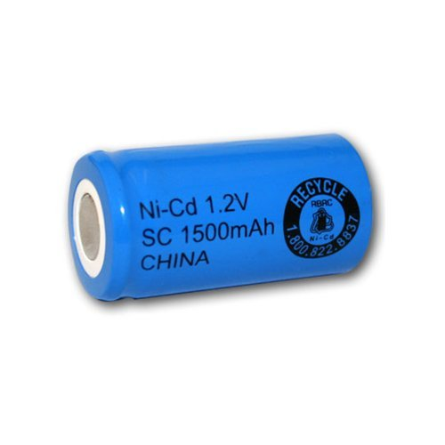 SubC Cell 1500mAh NiCd 1.2V Flat Top Rechargeable Battery