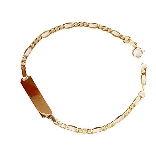 Bracelet enfant fille avec plaque centrale en or 18cts-7502,00gr + gravure