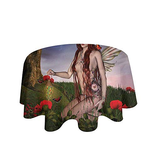 Fantasy Waterproof Anti-Wrinkle no Pollution Redhead Fairy with Wings Holding a Butterfly Catcher Lantern Surrounded by Poppies Table Cloth D35 Inch Multicolor
