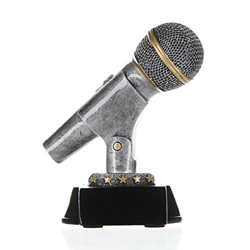 Decade Awards Microphone Trophy, Silver - Mic Drop Award - 6 Inch Tall - Engraved Plate on Request (Best Singers Of The Decade)